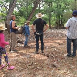 Yarixa, Devon, Chui, Ryan, and James walking the arroyo in Guirocoba, Sonora.
